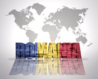Word Romania on a world map background Royalty Free Stock Photo