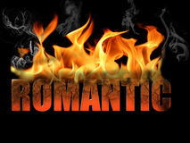 Word Romantic in Fire Text Stock Images