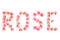 Word ROSE arranged from real dry rose petals. Royalty Free Stock Photos