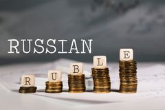 Word RUBLE composed of wooden letters. Closeup royalty free stock photos
