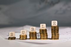 Word RUBLE composed of wooden letters. Closeup royalty free stock photography