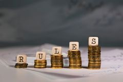 Word RULES composed of wooden letter. Closeup royalty free stock photos