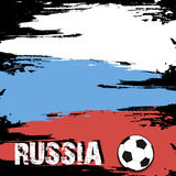 The word Russia and soccer ball on the background of the Russian Royalty Free Stock Images