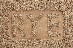 Word rye written on burlap Royalty Free Stock Photo