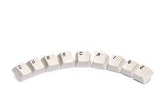 Word s'est rassemblé des boutons de clavier numérique d'ordinateur souscrivent d'isolement Images stock