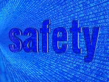 The word safety in the background numbers one and zero Stock Photos