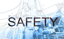 Word SAFETY over blueprint drawing combined with picture Stock Image