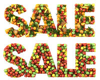The word Sale. Made of fruits. Isolated on a white Royalty Free Stock Photography