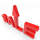 The word sale with arrow going up. Royalty Free Stock Images