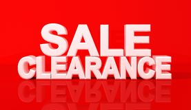 Word sale and clearence on red background. 3D Illustration Royalty Free Stock Photo