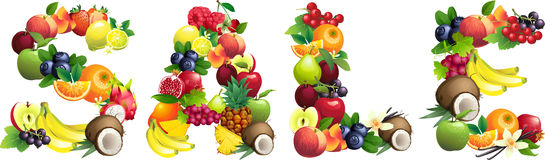 Word SALE composed of different fruits with leaves Royalty Free Stock Image