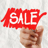 Word sale with crumpled paper background Royalty Free Stock Photography