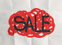 Word sale with crumpled paper Stock Images