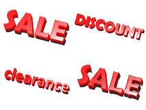 Word - sale, discount, clearance, red on white. Background Stock Photo