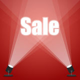 Word sale. floodlighting. spotlight red background Royalty Free Stock Image