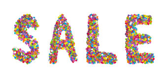 Word sale formed of colorful confetti isolated over white. Stock Photos