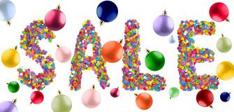 Word sale formed of colorful confetti with multicolored christma Royalty Free Stock Image