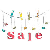 Word sale hanging on the rope Royalty Free Stock Image