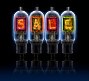 Word SALE made with bulbs with glowing letters Royalty Free Stock Photography