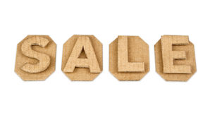 Word sale made of cardboard retro. On white background Stock Images