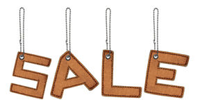 Word sale made from Leather alphabet with chain Stock Photos