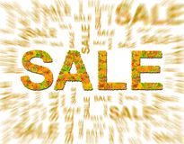 Word SALE made of leaves and blurred word isolated on white Stock Image