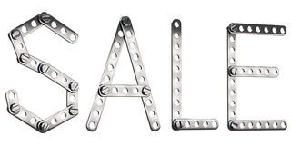 Word Sale made from metall construktor. Royalty Free Stock Photos