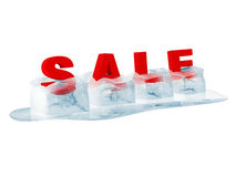 Word SALE in Melting Ice Cubes Royalty Free Stock Photography