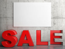Word SALE with mock up poster on concrete wall Stock Photos