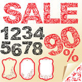 Word SALE, numerals and letters are made of floral Stock Photo