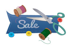 Word Sale with scissors and thread Stock Image