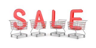 Word SALE in the shopping carts Royalty Free Stock Photography