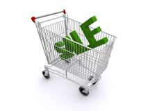Word sale in shopping trolley. 3d illustration of word sale in shopping trolley; isolated on white background Stock Images