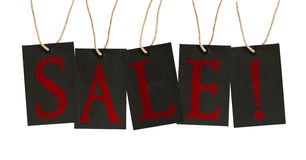 Word Sale on Tags on White Background Stock Photos