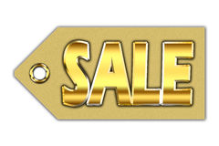 Word sale, written on golden tag Royalty Free Stock Photo