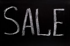 Word sale writtent on blackboard Royalty Free Stock Photos