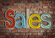 The Word Sales on a Brick Wall Background Royalty Free Stock Photo