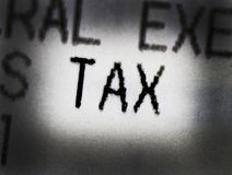 Word sales tax. In the text stock photo