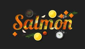Word salmon design decorated with fresh raw salmon fish and spices on dark background. Vector , illustration Royalty Free Stock Photography