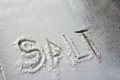 The word Salt written in salt Stock Photos