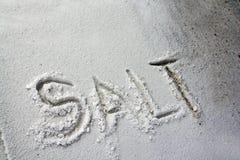 The word Salt written in salt Stock Photos