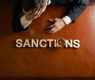 Word Sanctions and devastated man composition Royalty Free Stock Photography