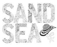 Word SAND and SEA for coloring. Vector decorative zentangle object Royalty Free Stock Photo