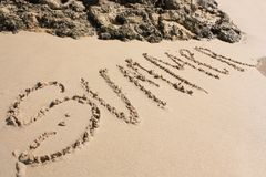Word on the sandy beach Stock Photography
