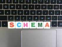 Word Schema op toetsenbordachtergrond royalty-vrije stock afbeelding