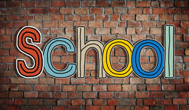 The Word School on a Brick Wall Background Royalty Free Stock Images