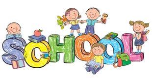 Word school en grappige kinderen Stock Fotografie