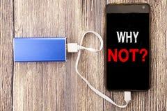 Word schrijven, die waarom niet Vraag Bedrijfsdieconcept voor Leidingsmotivatie op mobiele mobiele celtelefoon en macht-bank klus stock afbeeldingen