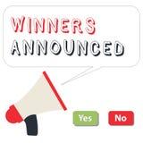 Word schrijvende Aangekondigde tekstwinnaars Bedrijfsconcept voor het Aankondigen van wie de wedstrijd of om het even welke concu vector illustratie