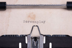 Word Screenplay typed by typewriter Royalty Free Stock Photo